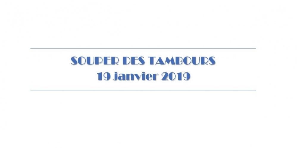 Souper des Tambours 2019 – 19 janvier 2019 à 19h30 🗓 🗺